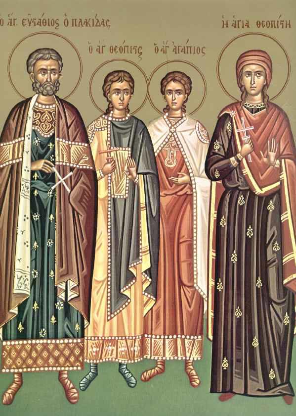 Ορθόδοξος Συναξαριστής :: Άγιος Ευστάθιος και η συνοδεία του, Θεοπίστη η  σύζυγος του, Αγάπιος και Θεόπιστος τα παιδιά του